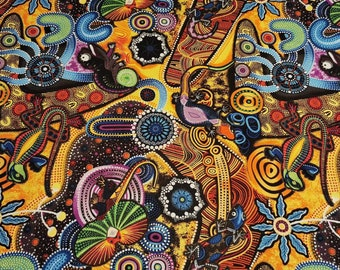 Aboriginal Inspired Fabric Malkamalka Desert Stripe Fabric Half yard