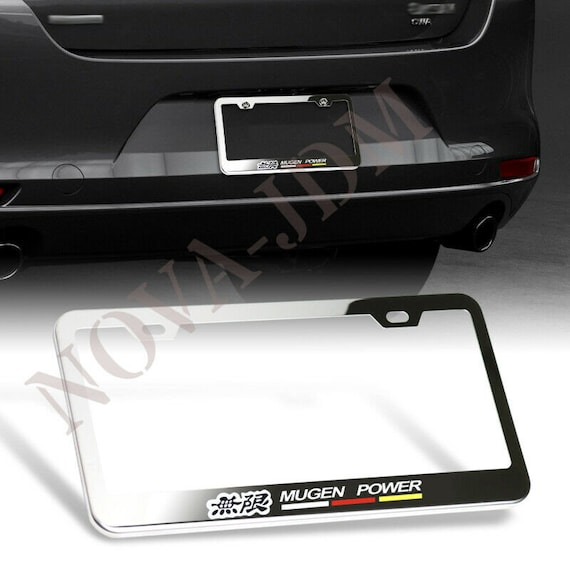 2X CIVIC Laser Style Stainless Steel Metal Black License Plate Frame Rust Free