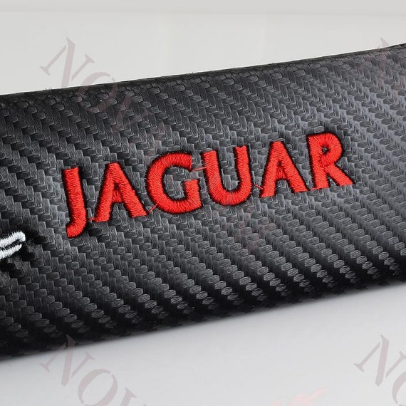 Black Seat Belt Cover Shoulder Pad Pairs with Red Embroidery Jaguar Logo