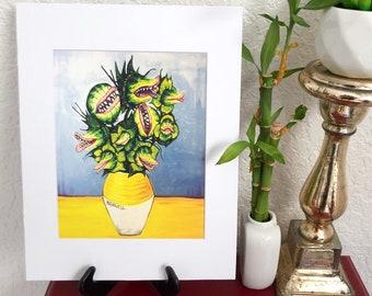 Van Goghs Little Shop of Horrors 8x10 art print, Audrey Feed me Seymour Monster painting, dark sunflowers painting, Horror art