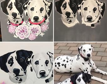 Custom Pet Portrait painting, dog portrait, memorial pet painted portrait, acrylic pet art, custom pet painting, custom puppy portrait,