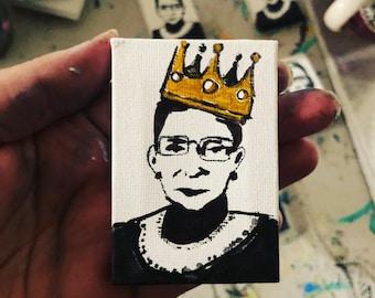 mini RBG painting, Ruth Bader Ginsburg art, Notorious RBG, original art, mini canvas artwork, desk accessories, Christmas gift