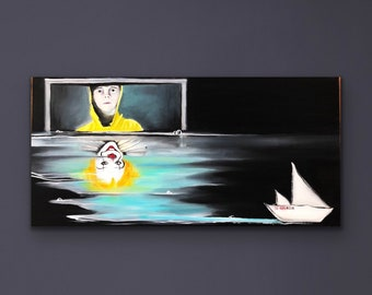 Pennywise painting, Stephen Kings IT artwork, Pennywise wall art, Halloween Horror painting, It clown artwork, Hiya Georgie painting,acrylic