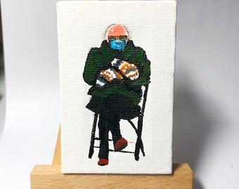 Bernie Sanders Meme painting, Miniature art, Liberal gifts, original art, mini canvas artwork, desk accessories, Small gifts, Bernie mittens