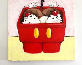 "Everything but the Kitchen Sink Ice Cream painting, 12x12"" canvas, pop art, wall decor, dessert art, Disney wall art,  acrylic painting"