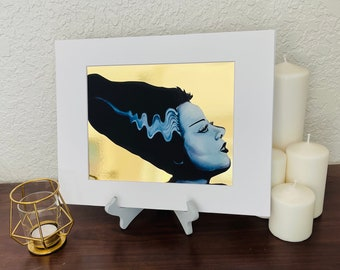 Bride of Frankenstein 8x10 art print, Gold foil, Halloween decor, oil painting, spooky wall art, Universal monsters portrait, gothic horror