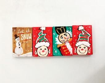 Christmas Ornaments hand painted, nut cracker, elf ornament, snowman, let it snow, christmas desk accessories, holiday home decor, mini art