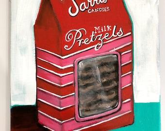 Milk Chocolate Pretzel pop art painting on canvas, 1950s wall art, pittsburgh artwork, food painting, modern decor, restaurant art, kitchen