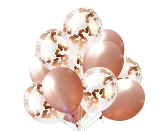 16 Pcs Rose Gold Confetti Party Balloons Baby Showers Bachelorette Engagement 21st Birthday Quinceanera Fiestas