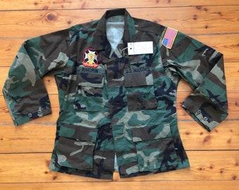 281c9da5e0699 US Marines - 1992 Woodland Camouflage Field Jacket USA Vtg - Medium -  Patched and Stencil- Like new