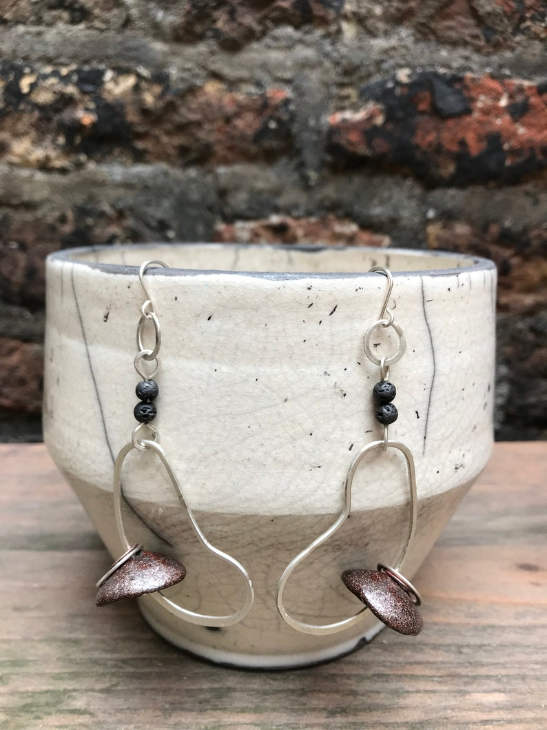 Sparkly bronze ceramic and sterling silver statement earrings