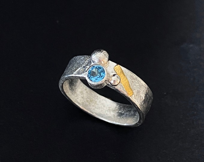 Featured listing image: Topaz  designer ring in silver and gold, blue topaz ring, statement ring with Swiss blue topazl, topaz silver ring with gold detail, handmad