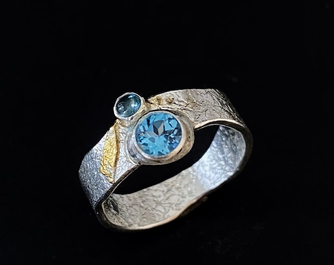 Featured listing image: Blue Topaz Silver Ring, Handmade Topaz Silver Ring with Faceted Blue Topaz, Silver and Gold Ring with Blue Topaz, Blue Topaz Designer Ring
