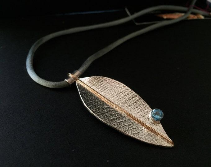 Featured listing image: Blue Topaz pendant, blue topaz silver pendant, blue topaz designer pendant, blue topaz silver necklace, Leaf pendant with blue Topaz