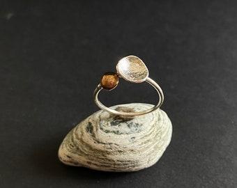 Delicate Designer Ring with gold detail, size 7.5, Handmade Silver Ring, Leaf Ring, Silver Ring with Leaf