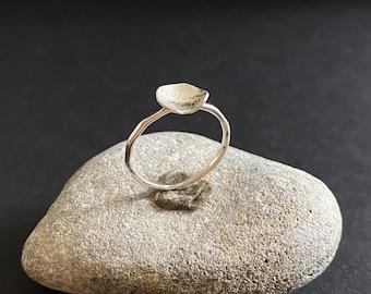Delicate Designer Ring, size 6, Handmade Silver Ring, Leaf Ring, Silver Ring with Leaf