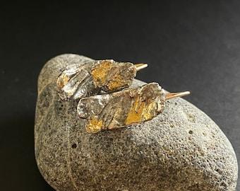 Oxidized Designer hoops, Handmade earrings, oxidized earrings with gold,  black hoops with gold, cool designer earrings