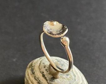 Delicate Designer Ring with gold detail, size 5.5, to 6, Handmade Silver Ring, Leaf Ring, Silver Ring with Leaf