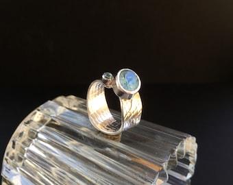 Blue Topaz Silver Ring, Handmade Topaz Silver Ring with Faceted Blue Topaz, Silver and Gold Ring with Blue Topaz, Blue Topaz Designer Ring