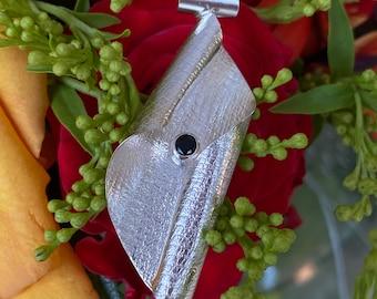 Black spinel silver pendant, handmade,  black spinel designer pendant