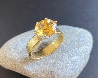 Citrine gold ring, handmade, size 7, citrine gem ring, designer ring with citrine, citrine ring in gold and silver