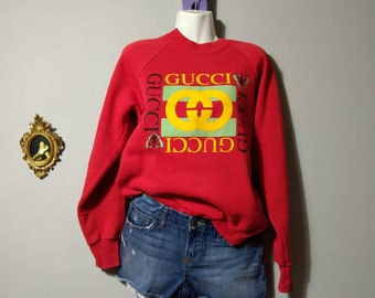 63c27d796fe ash red sweatshirt   gucci print sweatshirt   hugger USA   80s 1980s   90s  1990s