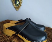 Swedish Clogs Retro Classic Genuine Leather Wood Anatomic Shoes 43