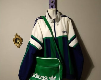 aa3b9dc14d Vintage 1990s Green Messenger Logo Sports Bag by Adidas