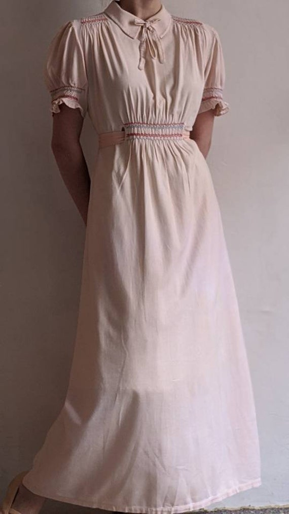antique dusty pink pioneer cotton dress - image 9