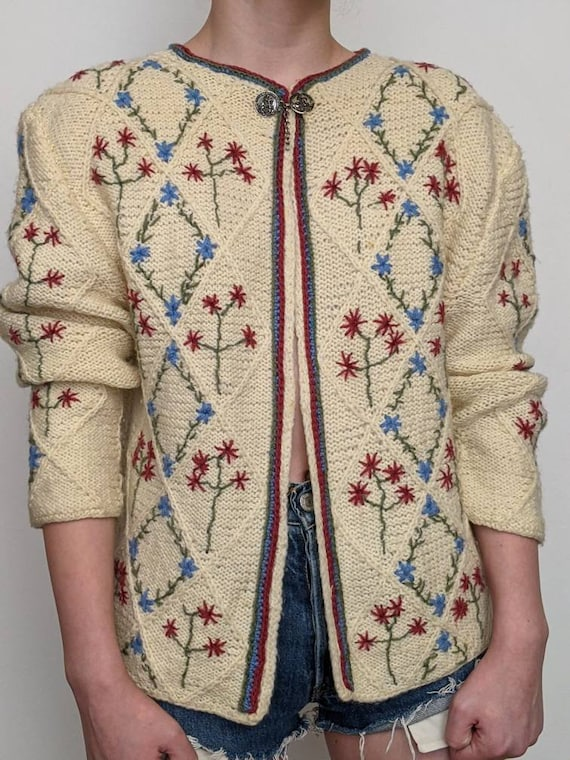 XSml vintage austrian embroidered duster sweater … - image 2