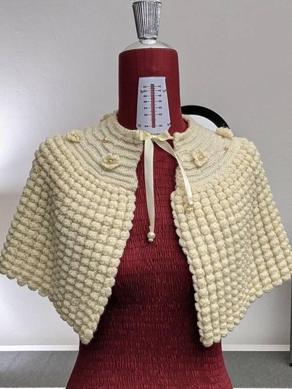 handknit popcorn texture knit cape capelet shoulde