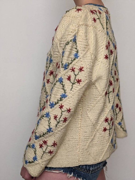 XSml vintage austrian embroidered duster sweater … - image 7