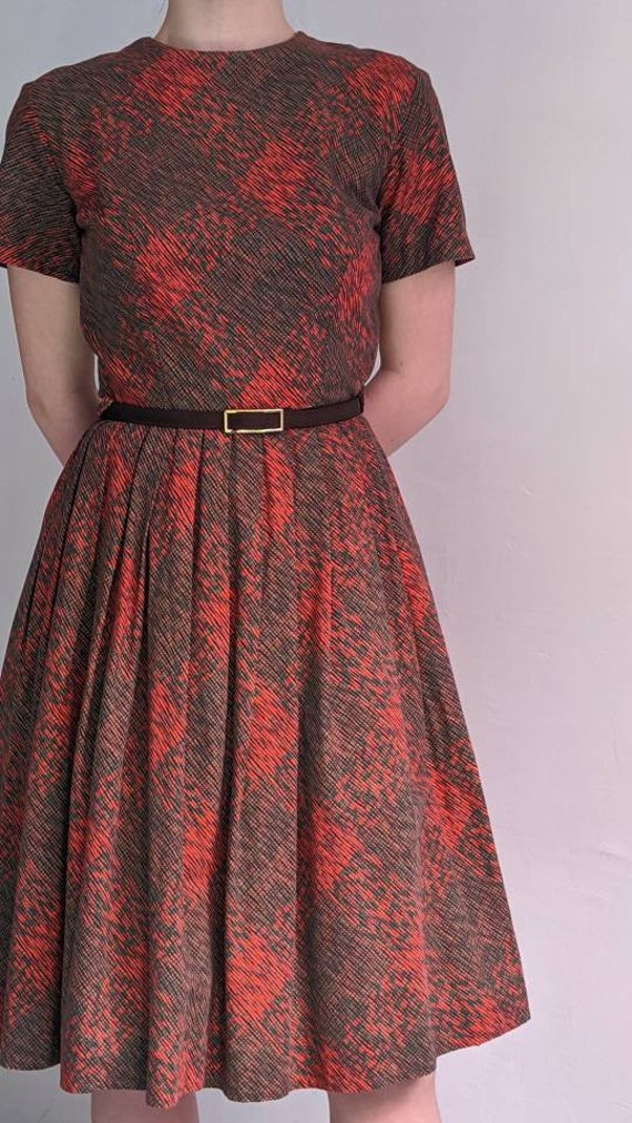 vintage 40s fit and flare day dress - image 3