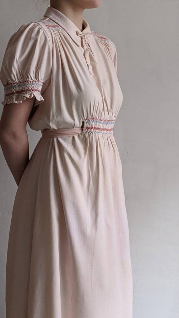 antique dusty pink pioneer cotton dress - image 2