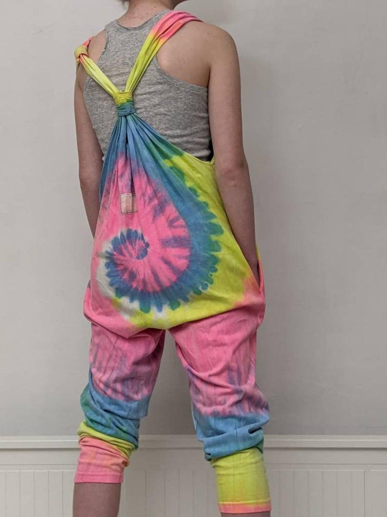 vintage 1980s la flame neon rainbow tye dye slouchy romper pants comfortable