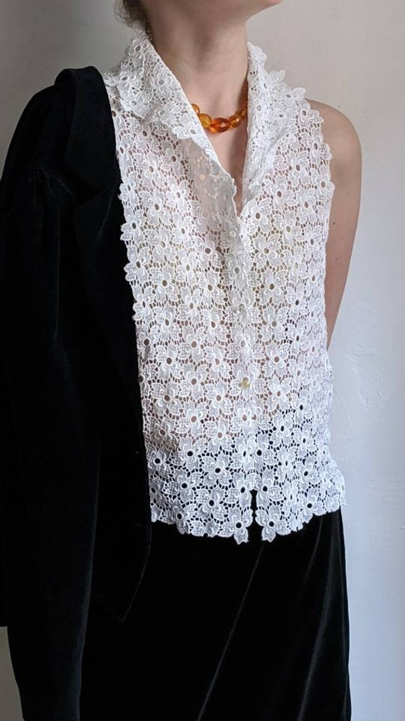 white lace dickie era vintage false collar