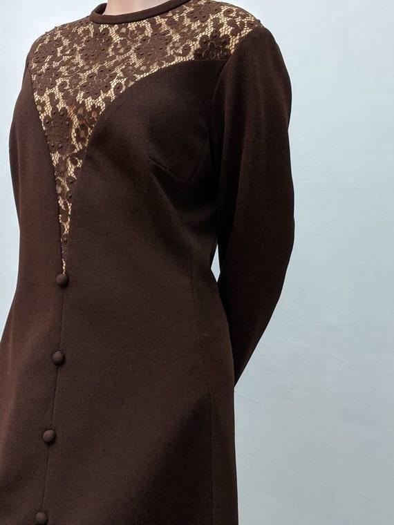 crimplene 1960s dress shift vintage 60s, scooter girl gold UK 12 sparkly dress Paisley Mod dress shift dress brown dress