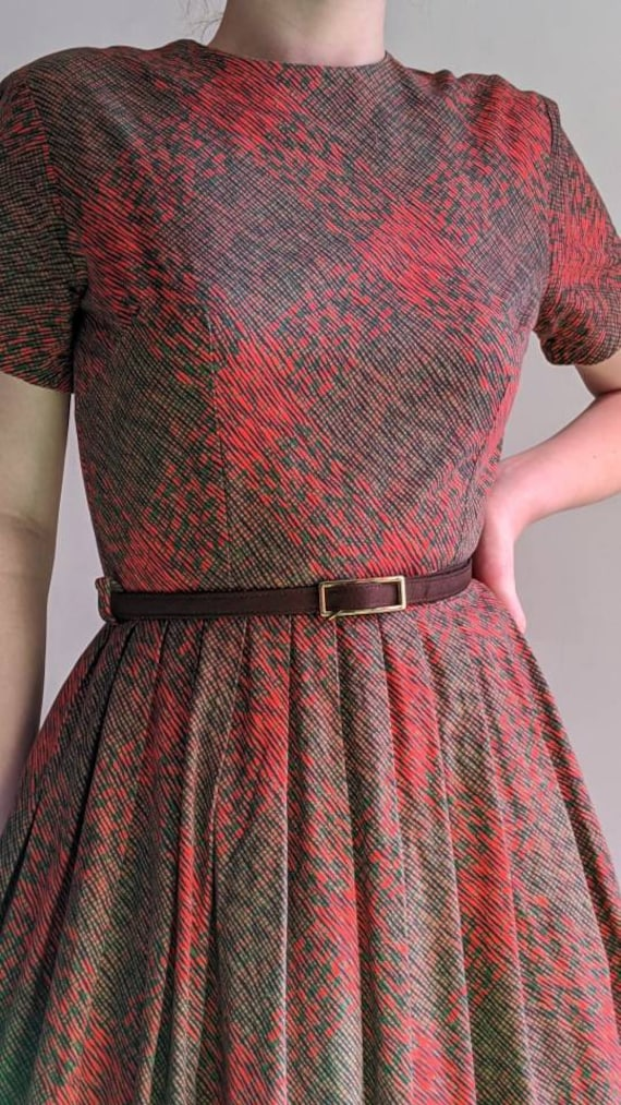 vintage 40s fit and flare day dress - image 4