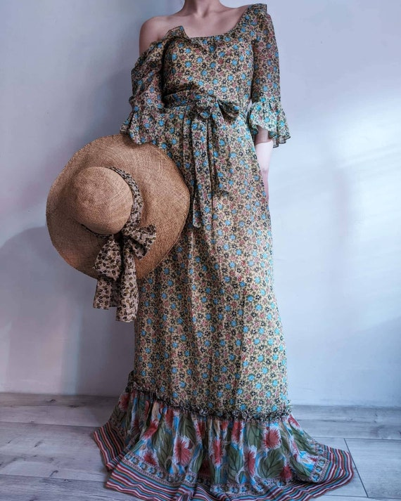 floral colonial prairie maxi flounce dress. ditsy
