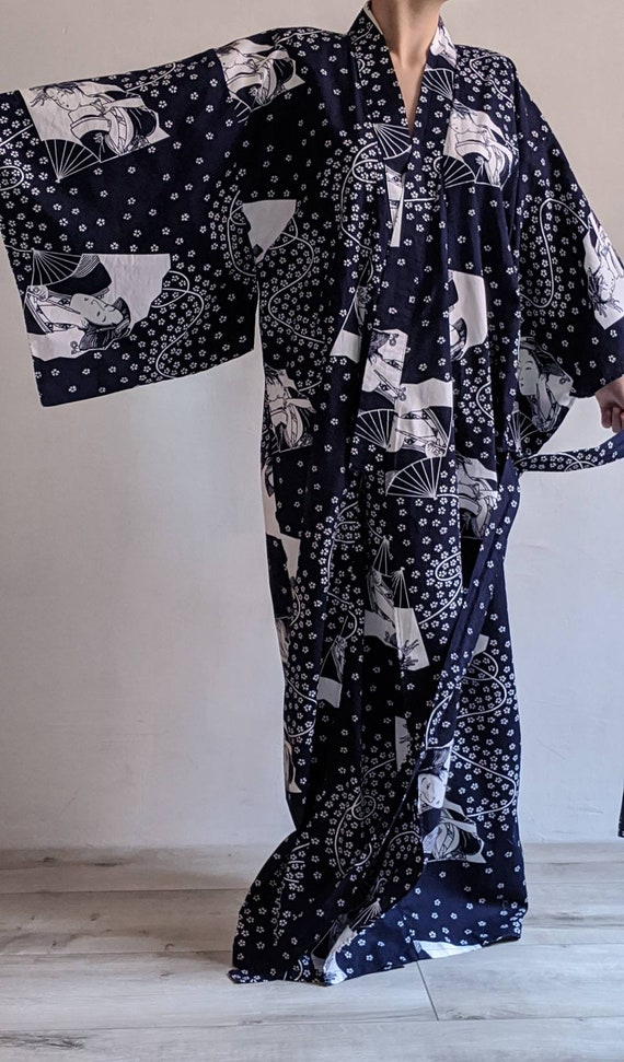 vintage japanese cotton kimono robe dress.