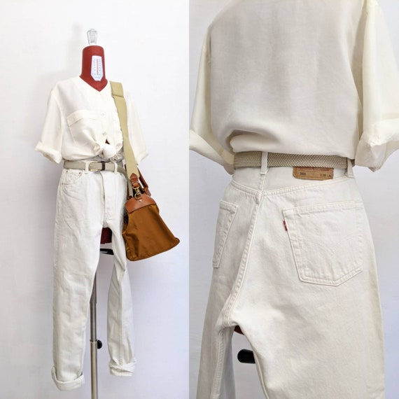 levis vintage 501 off white high waisted. vintage