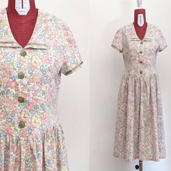 vintage handmade floral shirtwaist chore day dress