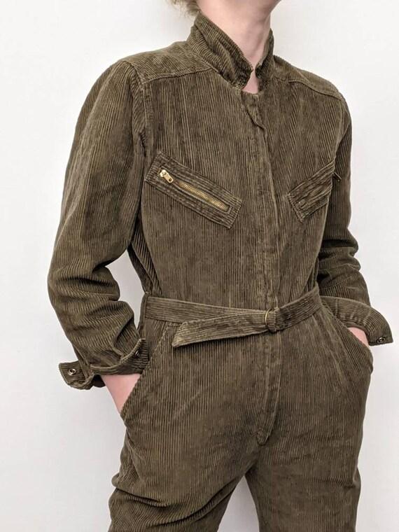 xxs xs vintage 70s corduroy jumpsuit belted covera