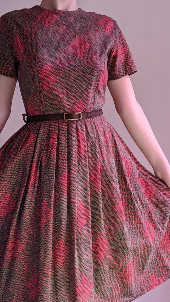 vintage 40s fit and flare day dress