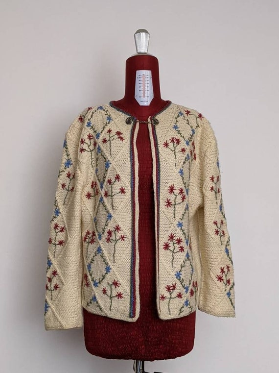 XSml vintage austrian embroidered duster sweater … - image 9