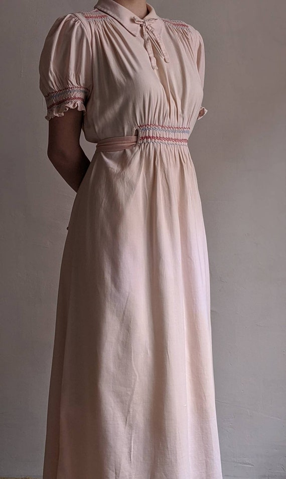 antique dusty pink pioneer cotton dress - image 10