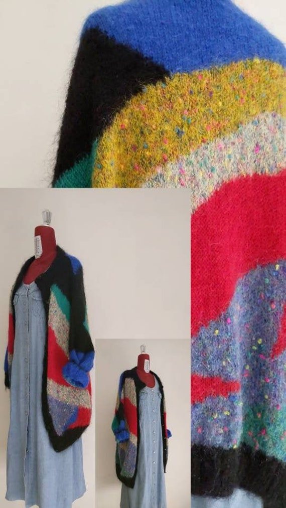 s m l oversized colorful wool mohair cardigan • lo