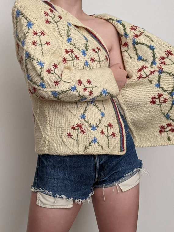 XSml vintage austrian embroidered duster sweater … - image 3