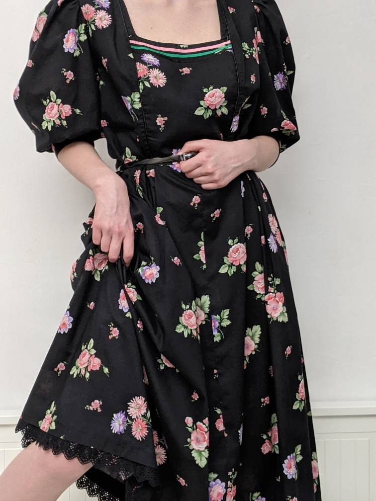 80s Dresses   Casual to Party Dresses Rose Dirndl From Bavaria Dress Cotton-Batiste Black With Roses Fine Vintage 1980S Without Apron Robe, Floral Cotton Lawn Midi $29.19 AT vintagedancer.com