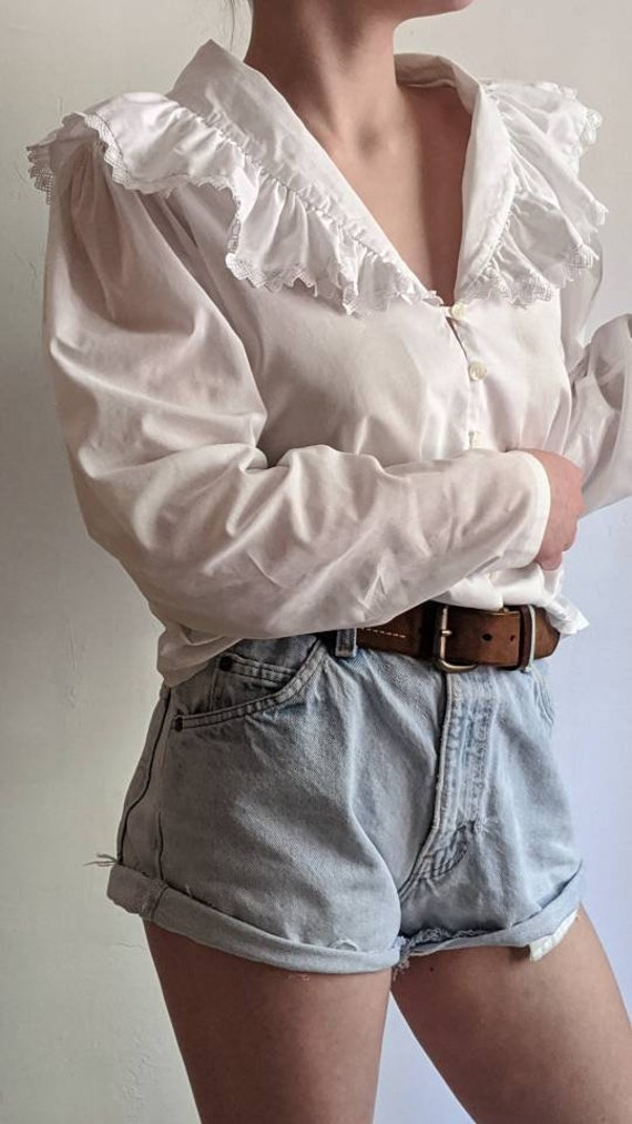 ruffle bertha collar blouse shirt in white. romant